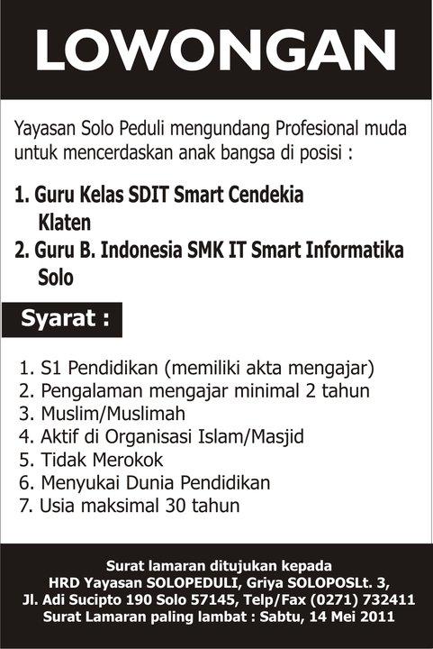 Lowongan Guru Kelas Sd Dan Guru Bahasa Indonesia Darwoto S Webblog