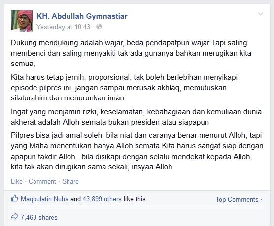 Status Facebook Aa Gym Menjelang Pilpres 09-07-2014