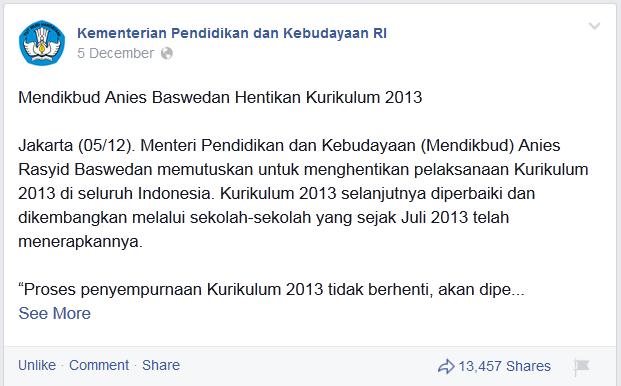 Mendikbud Hentikan Kurikulum 2013