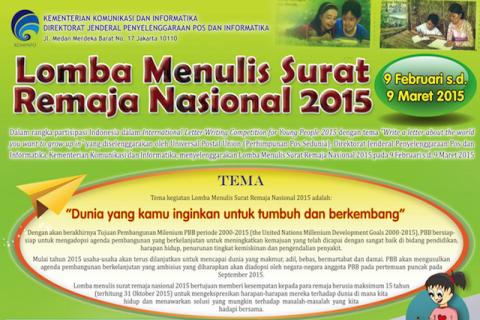 Lomba Menulis Surat Remaja Nasional Tahun 2015