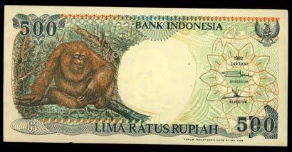 500 rupiah monyet seri emisi 1992 replacment afront